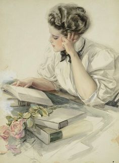 Harrison Fisher (1877 - 1934) - The study hour, College girl at her studies, 1907
