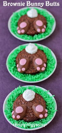 Brownie Bunny Butts with Reese's Peanut Butter Paws. Cute fun food party idea for Easter!