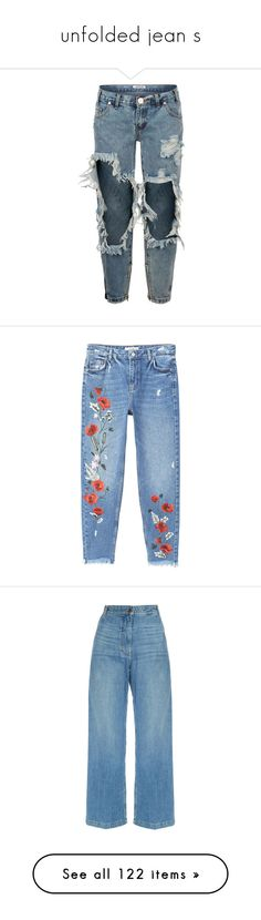"""""""unfolded jean s"""" by trendybb ❤ liked on Polyvore featuring jeans, pants, bottoms, pantalones, blue ripped skinny jeans, destructed skinny jeans, denim skinny jeans, destructed jeans, torn skinny jeans and cropped jeans"""