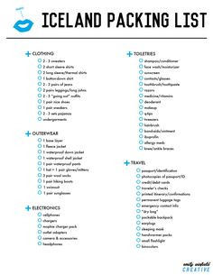 THE ULTIMATE Iceland Packing List, for around an 11-day trip.  I made this for our Honeymoon in April, 2015 <3