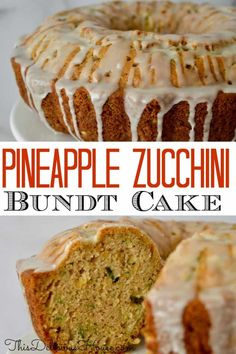 Pineapple Zucchini Bundt Cake with Pineapple Glaze is an easy to make bundt using fresh zucchini and canned crushed pineapple. Don't miss this super moist and delicious Bundt Cake. Zucchini Bundt Cake Recipe, Pineapple Zucchini Cake, Pineapple Glaze, Zucchini Bread Recipes, Crushed Pineapple, Zucchini Desserts, Banana Zucchini Cake, Easy Pineapple Cake, Pineapple Cupcakes