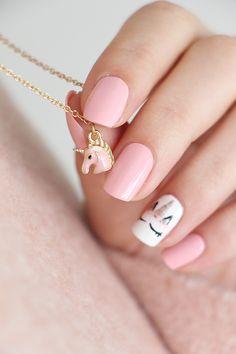 Unicorn Nails Designs, Unicorn Nail Art, Nail Art Anniversaire, Blue Nails, White Nails, Nail Art Halloween, American Nails, Nail Polish Stickers, Green Nail Polish