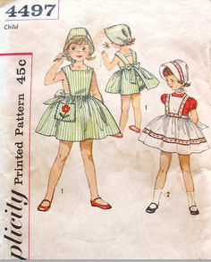 Vintage 1950s Sundress or Pinafore Bonnet and by daisyepochvintage, $10.00