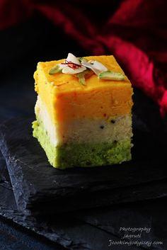 Kesar, Badam, Pista Barfi / Barfee - Saffron, Almond and Pistachio nuts creamy fudge squares