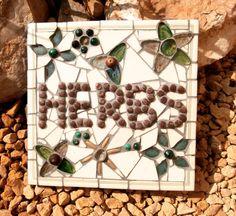 Mosaic Garden Art Herbs Sign in Cream Green by ReTainReMakeReNew