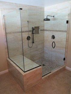 Master bathroom remodel. standard tub converted into customer shower enclosure. #ShowerEnclosure