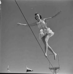 1950's Tightrope walker vintage circus performer.