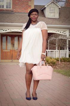 Trendy plus size fashion for women: White dress