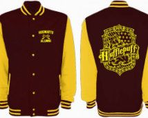 Hufflepuff Quidditch Varsity Jacket (Black Body/Yellow Sleeves)Harry Potter Fan…
