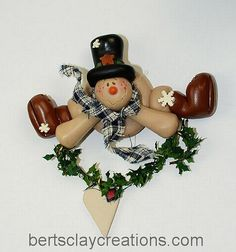 Snowman with Heart Ornament by BertsClayCreations on Etsy, $7.50