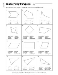 Classifying Polygons practice or test - All squares are rectangles, but not all rectangles are squares. If your curriculum requires you to teach specific quadrilateral and triange concepts, you'll find this 4-page document to be very helpful. Because it has 2 versions, you can use the first form for identifying misunderstandings and the second form for retesting students after you reteach the concept. Answer keys are included. Please download the preview version before purchasing. $