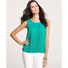Ann Taylor Pleated Bubble Hem Shell ($58) ❤ liked on Polyvore