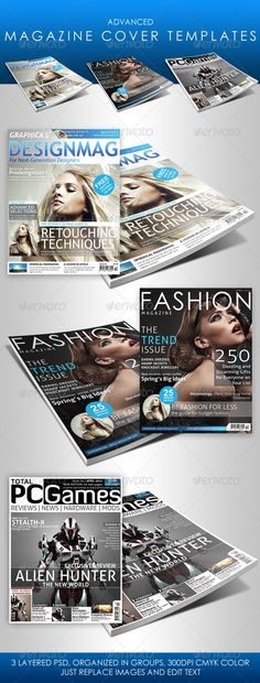 Advanced Magazine Cover Templates - Magazines Print Templates