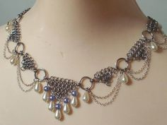 The 'Briana' Circlet as a Necklace, as shown with faux pearl ivory drops and lavender beads