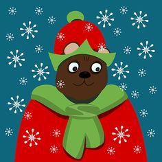 bust of a smiling bear dressed in red and green in snow blizzard Canvas Art, Canvas Prints, Art Prints, Blankets For Sale, Thing 1, Weird Creatures, Sale Poster, Christmas Elf, Tag Art
