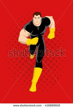 Cartoon illustration of a superhero running on comic dots or raster red background - stock vector