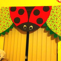 I created this ladybug valance for my daughter's bedroom.