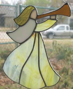 Stained Glass Angel Suncatcher Yellow by Nanantz on Etsy