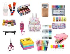"""""""whats in my school bag"""" by anaiskwesele1 ❤ liked on Polyvore featuring interior, interiors, interior design, home, home decor, interior decorating, Forever New, Post-It, Sharpie and LEXON"""