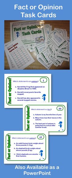 32 Fact or Opinion Task Cards. Each card features three related statements. Students must identify which one is the fact or opinion. 32 cards for $2.75.