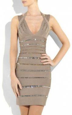 Jennifer Halter V-Neck Herve Leger Bandage Dress Short