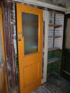 Original mahogany stall doors inside D at 27 Foley Street London Cafe, Coffee Shop, Toilets, The Originals, Doors, Street, Coffee Shop Business, Litter Box, Roads