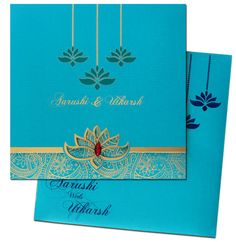 www.regalcards.com introducing Laser cut Lotus theme invitation cards. Your guests will get mesmerized by the sheer elegance of these invites. Available in colors of your wedding theme.