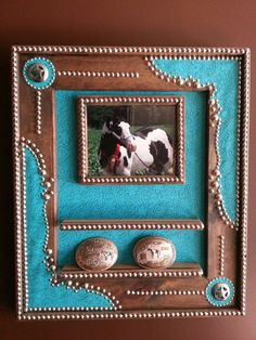 Country western photo frame and belt buckle display