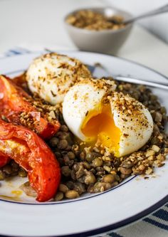 Lentils, Harissa-Roasted Tomatoes, Dukka-Rolled Soft-Boiled Eggs {Katie at the Kitchen Door}