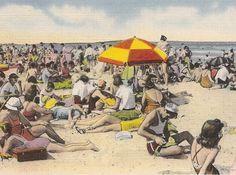Vintage Beach Scene Long Island New York NY
