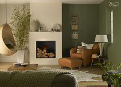 A sun-facing lounge can be given a #DuluxFreshStart with moss green colours and natural textures.