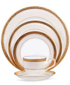 "Noritake Dinnerware, Odessa Gold Collection. Very ""Roman aristocracy."" I think Brady would like."