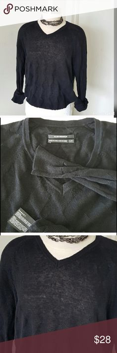 Club Monaco V Neck Black Sweater Club Monaco V Neck Black Sweater. 💯 linen.  One sweater that is perfect with a skirt, pant or shorts. Please read further information on sizing and material in photo area 4.   Please look at photos and descriptions carefully before you purchase. Reposh.  This item is not returnable. Press like on any item in my closet and be the first to know of price markdowns. Thank you. Club Monaco Sweaters V-Necks