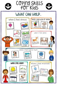 Coping Skills for Kids!  A fun sorting collage worksheet school counseling intervention.