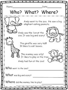 FREEBIE! (2nd TPT Milestone Celebration) Includes 8 pages of Language Arts and Math (writing - tell a story, reading comprehension - Who? What? Where?, fix it up sentences, scrambled sentences, morning work, ten frames, addition word problem, and subtraction with manipulatives) K-2 resource
