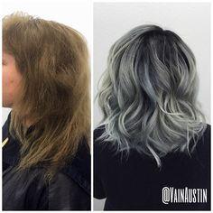Haircut and color by Emily #beforeandafter #grey #greyhair #gray #grayhair #ombre #transformation #lob #greybob #kenra #haircolor #titanium #titaniumhair #hairdressermagic #austinhair #austinhairstylist #vain #vainaustin #vainsalon #austin @behindthechair_com #behindthechair #btcpics #btconeshot_color #btconeshot_hairpaint #btconeshot_ombre #btconeshot_thelook #btconeshot_texture  #btconeshot_transformation #hairdressermagic @modernsalon @wellahair @wellaeducation @behindthechair_com…