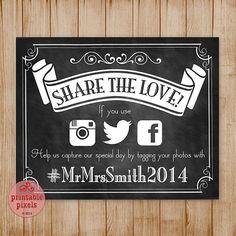 Custom Printable Chalkboard Wedding Sign Social by PrintablePixels, $6.00