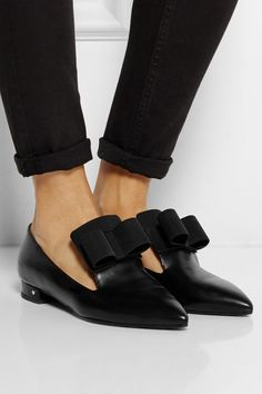 Laurence Dacade | Gertrude bow-embellished leather point-toe flats | NET-A-PORTER.COM