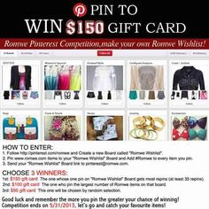 "Rowme event!  The winner will get $150 freebies.     How to enter:    1. Follow http://pinterest.com/romwe and create a new Board called ""Romwe Wishlist"".     2. Pin Romwe items to your ""Romwe Wishlist"" Board and add #Romwe to every item you pin (PS:  this board can only contain items from Romwe and don't repin items from other pinners.  Hope for your understanding.)    3. Send your ""Romwe Wishlist"" board link to pinterest@romwe.com         Go: http://pinterest.com/pin/233202086927435911/"