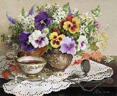 . Folk Art Flowers, Flower Art, Art Floral, Floral Prints, Watercolor Illustration, Watercolor Art, Cross Stitch Flowers, Pansies, Painting & Drawing