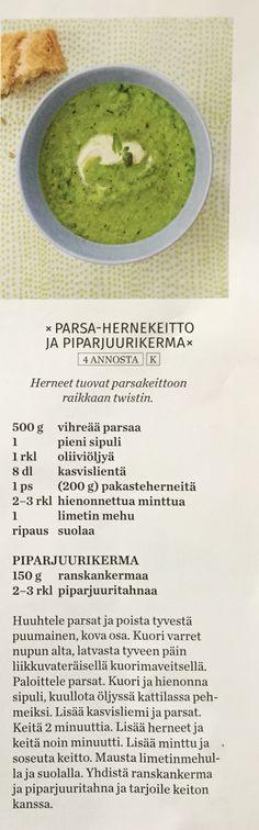 Parsa-hernekeitto ja piparjuurikerma