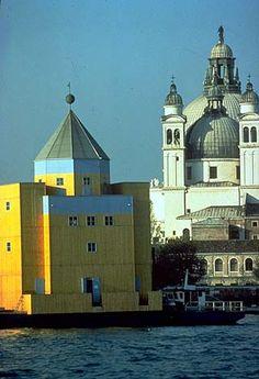 """The """"il teatro del mondo"""" Venice, / Aldo Rossi Rome Florence, Aldo Rossi, Yellow Houses, Venice Biennale, Contemporary Architecture, Urban Architecture, Facade, Images, Italy"""