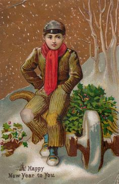 victorian new years post card