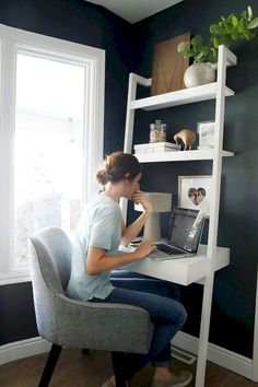 The Sawyer white leaning desk saves space and makes creative use of the wall instead. Leaning desks look chic in the home office bedroom or entryway. - July 27 2019 at Small Living Rooms, Living Room Designs, Living Room Decor, Dining Room, Living Spaces, Dining Chairs, Decor Room, Tiny Living, Bedroom Desk