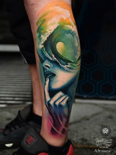 Portrait & Wave Abstract Leg | Best tattoo design ideas