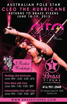 Workshops from Cleo the Hurricane, woohoo! Pole Dancing Fitness, Pole Star, Fitness Studio, Get In Shape, Workshop, Events, Dance, Getting Fit, Dancing