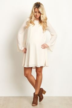 Ivory-Chiffon-Bell-Sleeve-Dress. This is lovely!