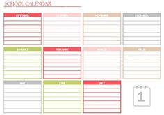 A Typical English Home: Household Binder School Edition: Yearly Calendar Printable