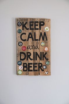 Keep Calm and Drink Beer Wooden Sign by itsawhoot on Etsy