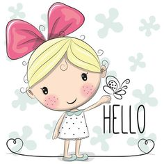 Find Cute Cartoon Girl Bow Butterfly stock images in HD and millions of other royalty-free stock photos, illustrations and vectors in the Shutterstock collection. Cartoon Cartoon, Cute Cartoon Girl, Hello Cartoon, Illustration Mignonne, Cute Illustration, Cute Little Girls, Cute Kids, Cute Images, Cute Pictures